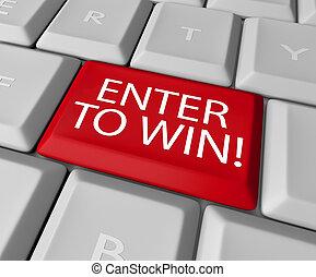 entrar, ganhar, competição, desenho, rifa, loteria, tecla...