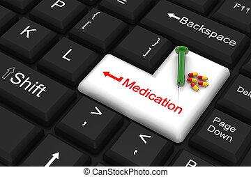 entrar, medicación, llave