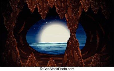 entrata, caverna, oceano