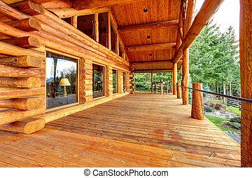 entrata, ceppo, veranda, gabinetto, legno, bench.