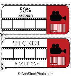 entrata, cinema, film, vendita, buono, biglietto