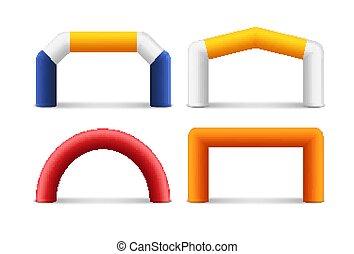 entrata, fine, banner., gonfiabile, pubblicità, inizio, sponsor, arco, evento, maratona, balloon