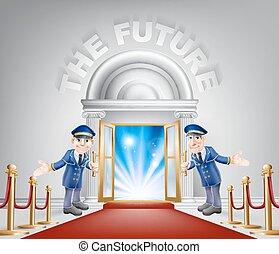 entrata, futuro, moquette rossa