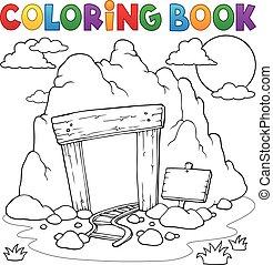 entrata, libro colorante, miniera