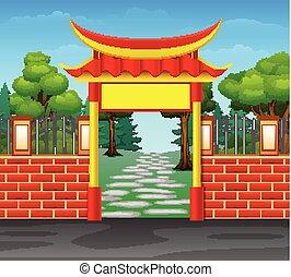 entrata, porta, foresta, rosso, cartone animato