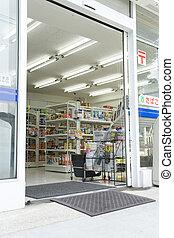 entrata, porta, negozio convenienza