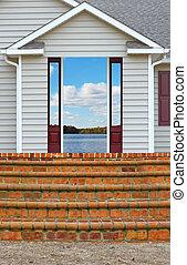 entrata, porta, stanza, scala, veranda, condurre, ranch, ...