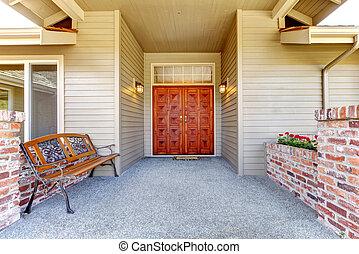 entrata, veranda, con, anticaglia, panca