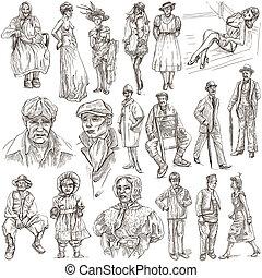 entre, 1870-1970, mode, dessins, années