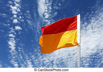 entre, banderas, nade