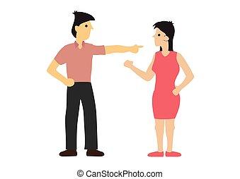 entre, concepto, argumento, pareja., unfairness., desacuerdo...