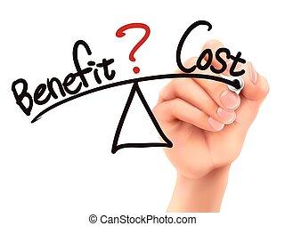 entre, equilíbrio, custo, mão, benefício, 3d, escrito