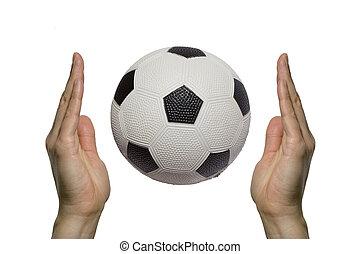 entre, football, deux, balle, mains