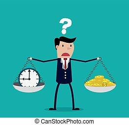 entre, homem negócios, fazendo tempo, ou, dinheiro, decisão