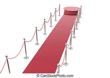 entre, isolé, deux, corde, rendre, fond, barriers., blanc, moquette, événement, rouges, 3d