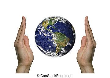 entre, la terre, 2, deux mains