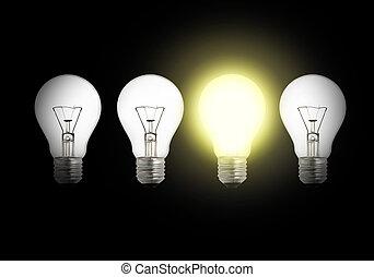 entre, lit, une, autre, ampoules, ampoule, lumière, cassé