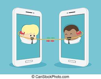 entre, téléphone, intelligent, américain, contact, électronique, via, communiquer, africaine, hommes affaires, deux