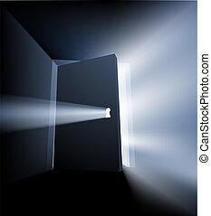 entreabierto, luz, concepto, puerta, rayo