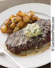 Entrecote de Beouf' with Roquefort Butter and Parmentier Potatoes