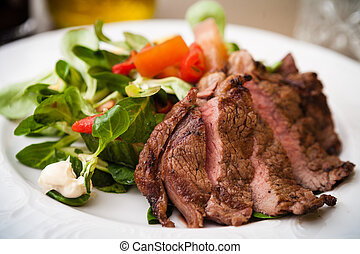 Entrecote with salad - Entrecote with green salad and...