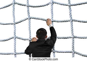 entrecroisement, isolé, corde, escalade, homme affaires, ...