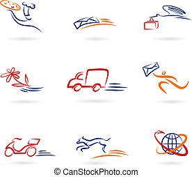 entrega, ícones, e, logotipos
