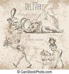 entrega, alimento, diferente