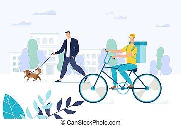 entrega, alimento, mensajero, libre, comida, bicicleta