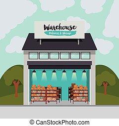 entrega, almacén, almacenamiento, diseño