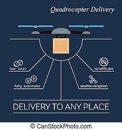 entrega, apartamento, infographic, quadrocopter