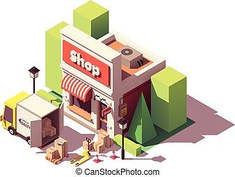 entrega, bens, isometric, vetorial, ícone