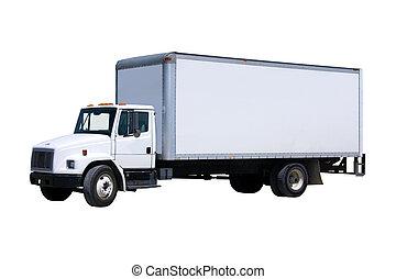 entrega, blanco, camión, aislado
