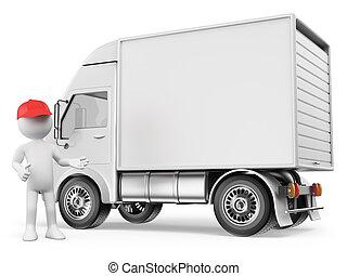entrega, branca, caminhão, pessoas., 3d