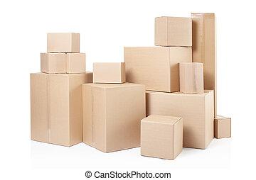 entrega, caixas, papelão
