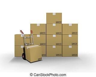 entrega, cajas, camión, mano