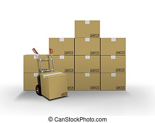 entrega, cajas, y, camión de mano
