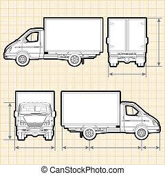 entrega, camión de carga