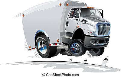 entrega, caminhão carga, caricatura, /