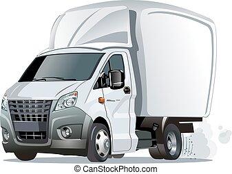 entrega, caminhão carga, caricatura, ou