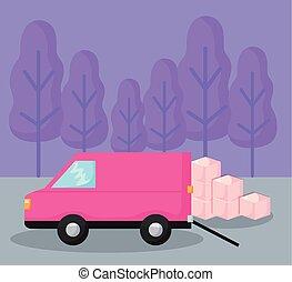 entrega, car, caixas, furgão, serviço