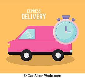 entrega, car, cronômetro, furgão, serviço