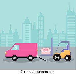 entrega, car, forklift, furgão, serviço