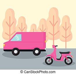 entrega, car, furgão, motocicleta, serviço