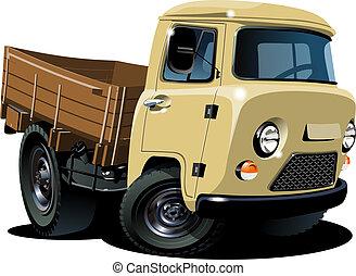 entrega, carga, pickup, caricatura, /