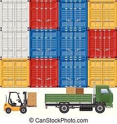 entrega, carga, vetorial, caminhão, illustration.