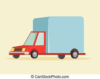 entrega, caricatura, caminhão, ícone