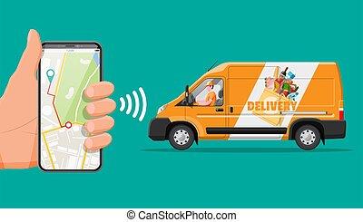 entrega, cheio, smartphone., alimento, furgão