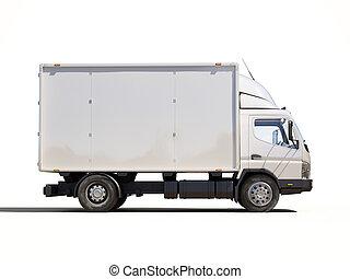 entrega, comercial, blanco, camión