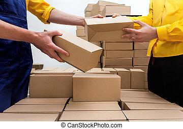 entrega, compañía, paquete